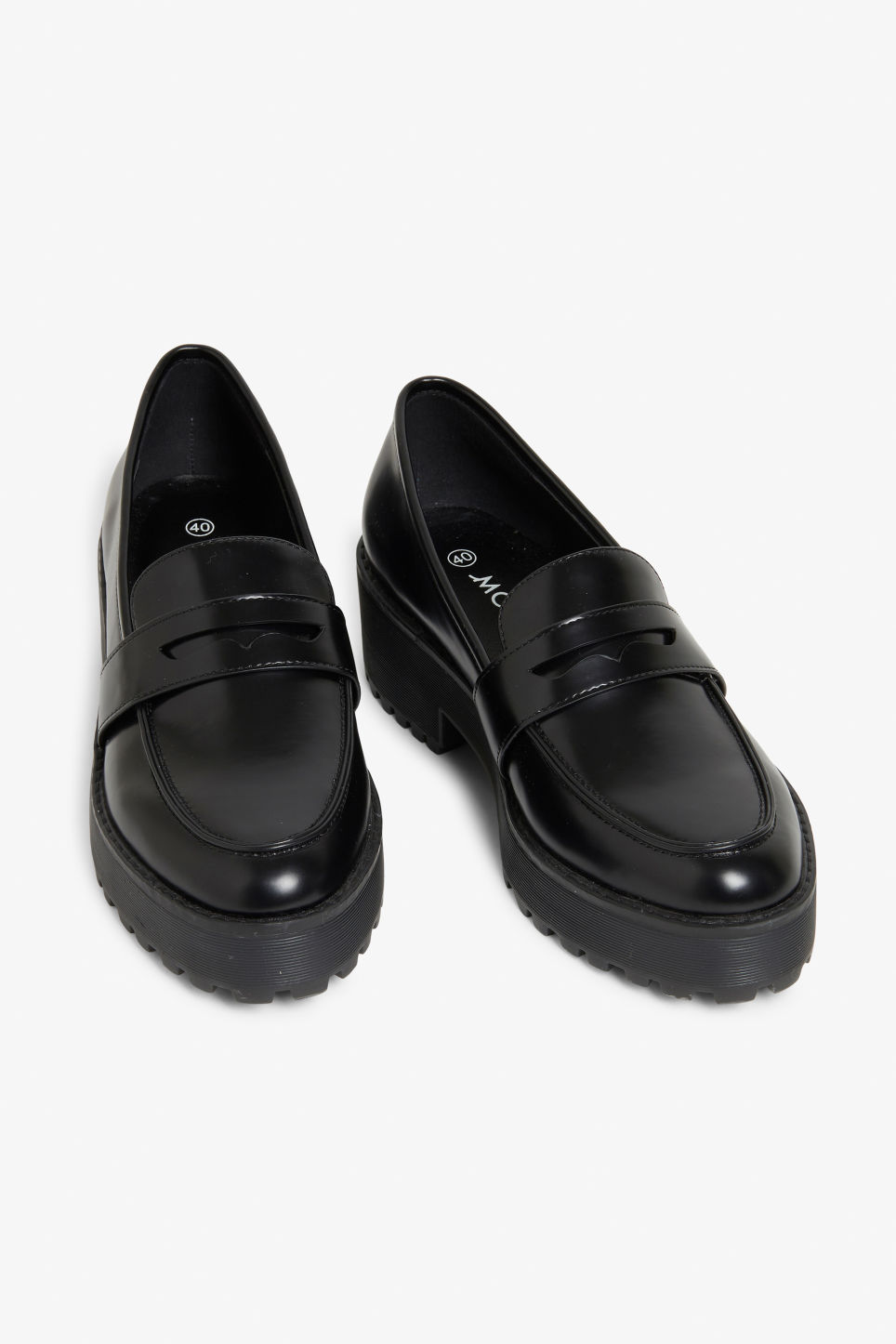 c4f20e4cd3a Chunky heel derby shoes - Black magic - Shoes - Monki