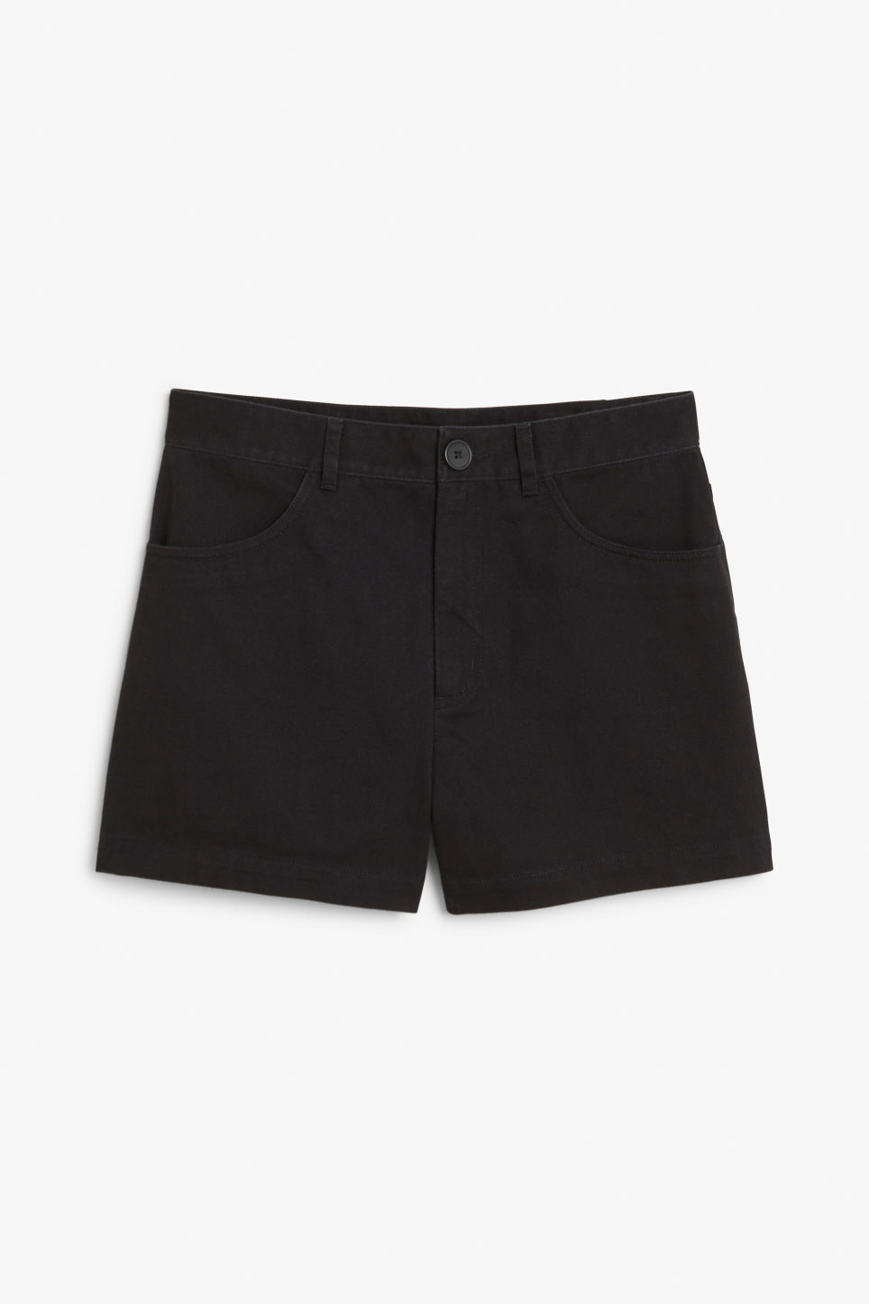 High waisted cotton shorts - Black