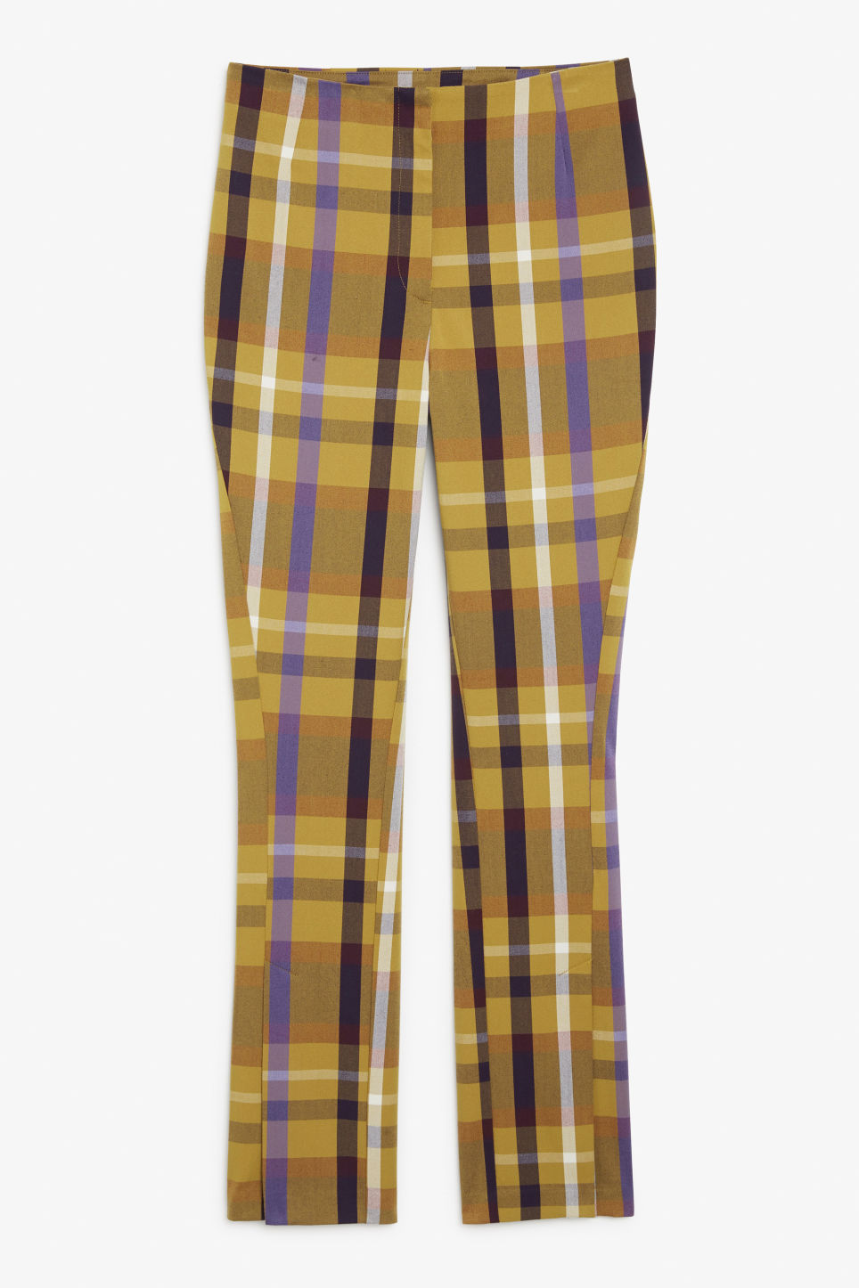 Plaid high-waisted trousers - Yellow