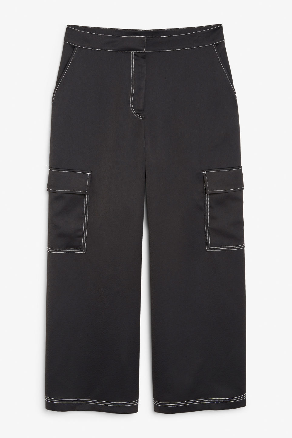 Contrast stitch utility trousers - Black
