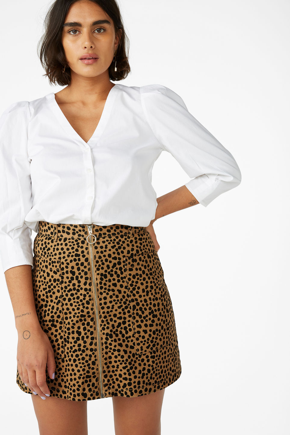 Monki Leopard Mini SKirt