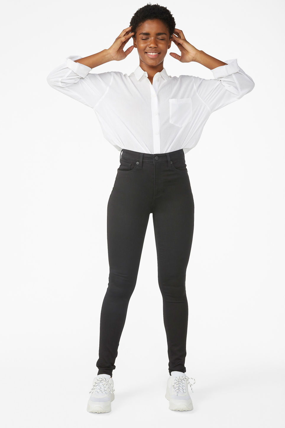 Model front image of Monki oki black deluxe jeans in black