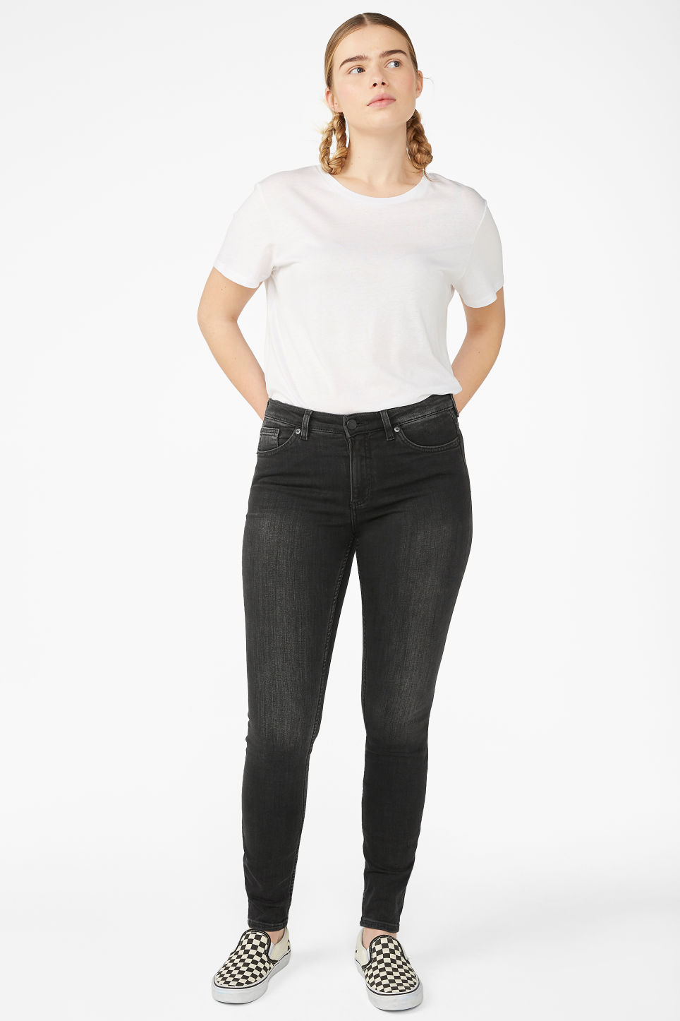 Model front image of Monki mocki washed black jeans in black