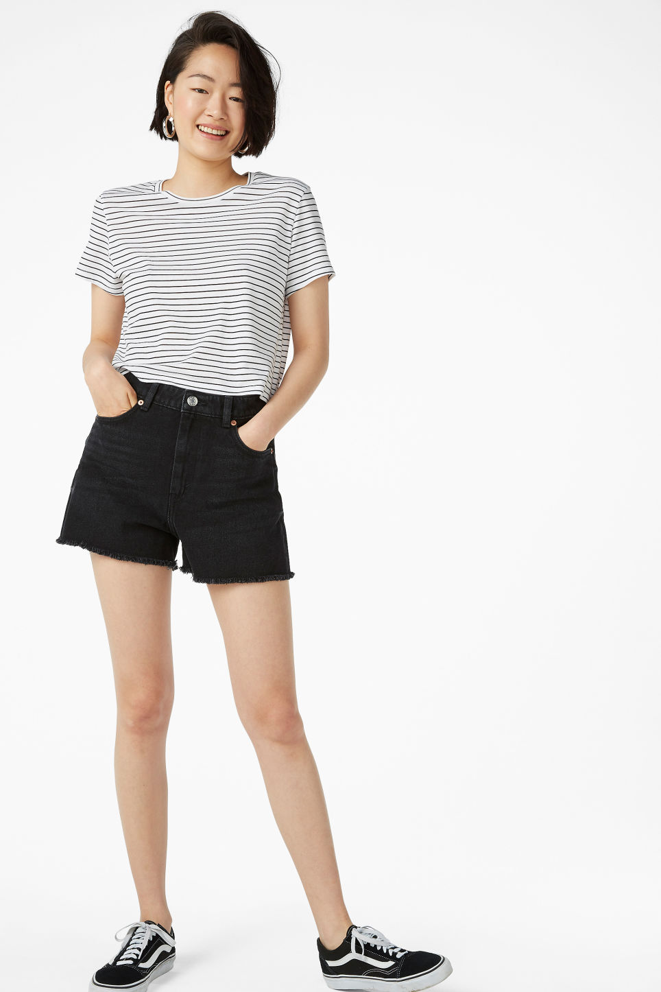 Model front image of Monki high waist denim shorts in black