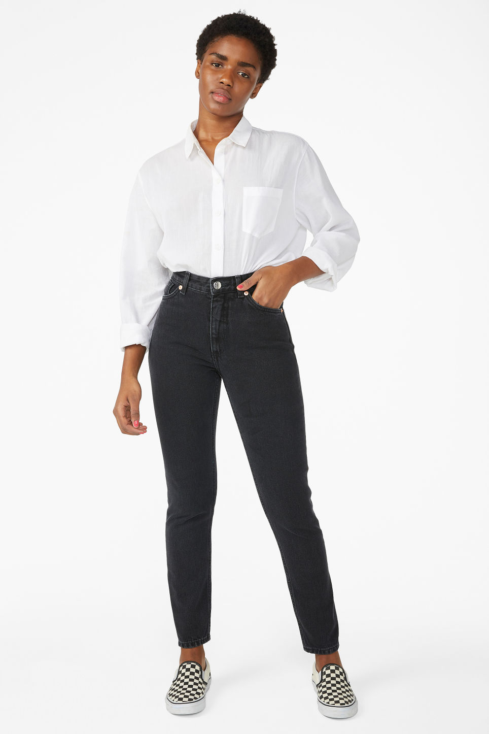 Model front image of Monki kimomo black jeans in black