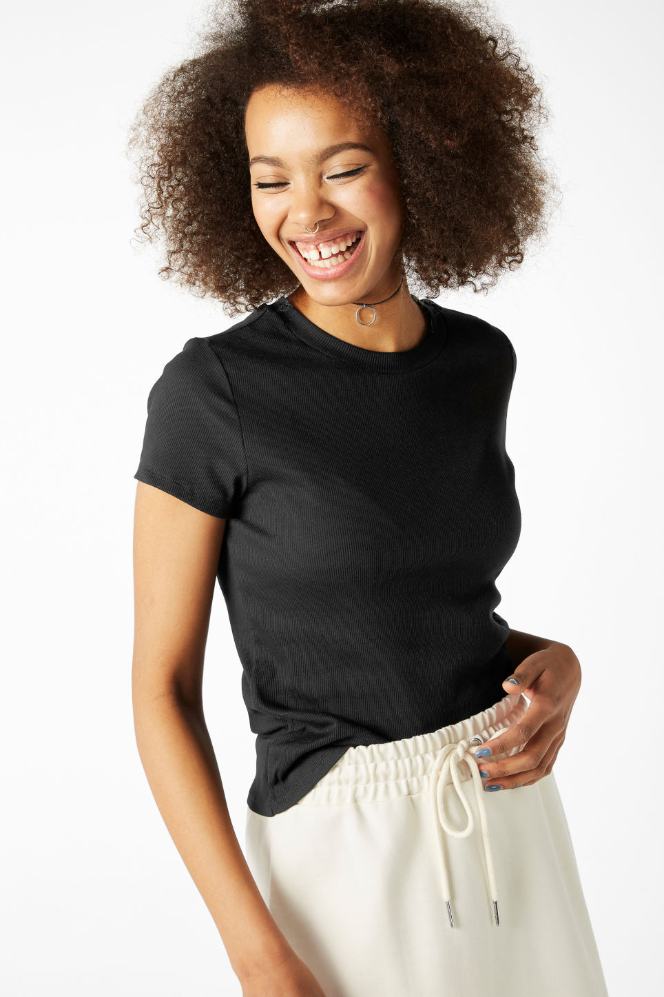 Model front image of Monki ribbed tee in black