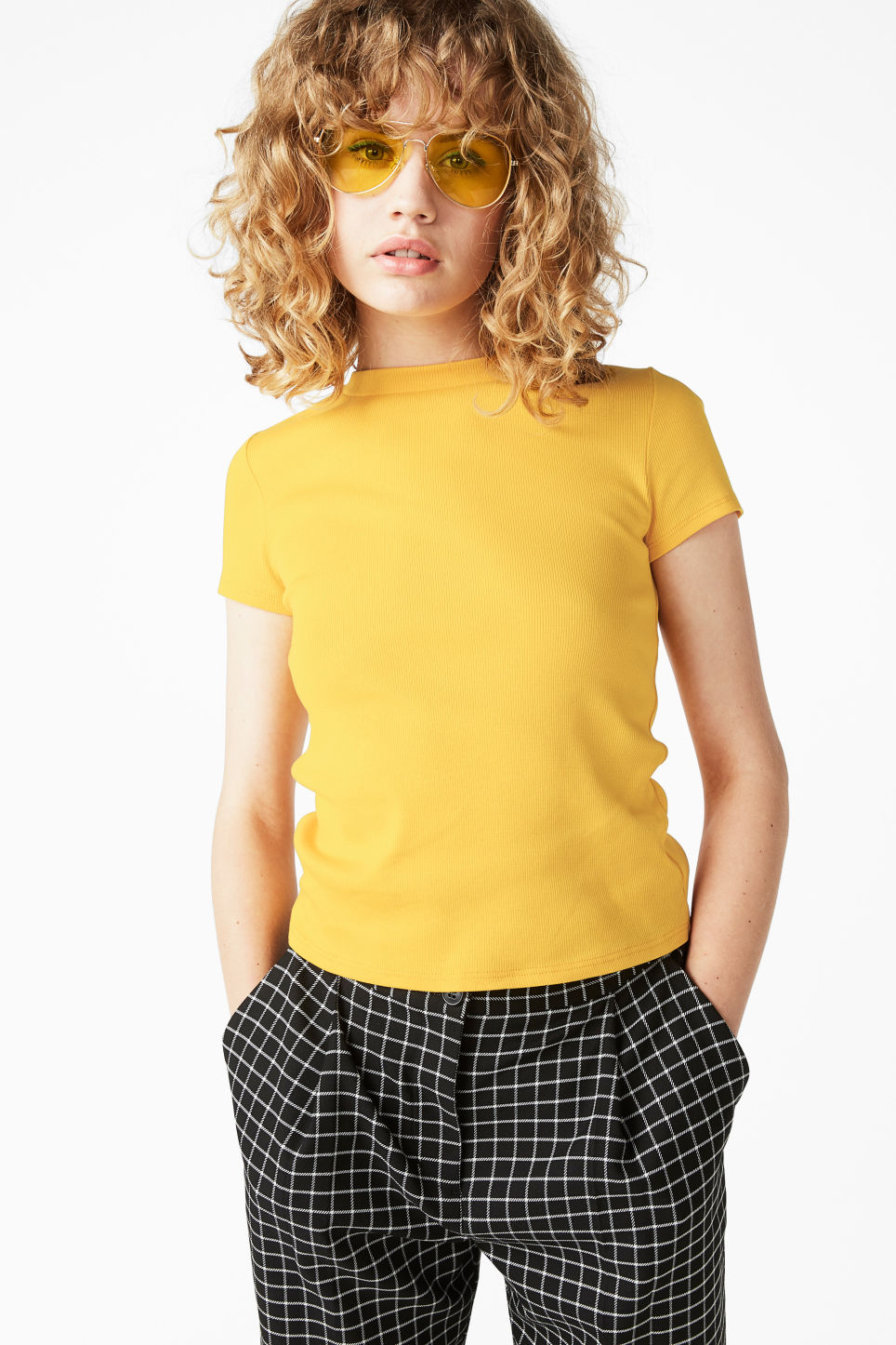 Model front image of Monki ribbed tee in yellow