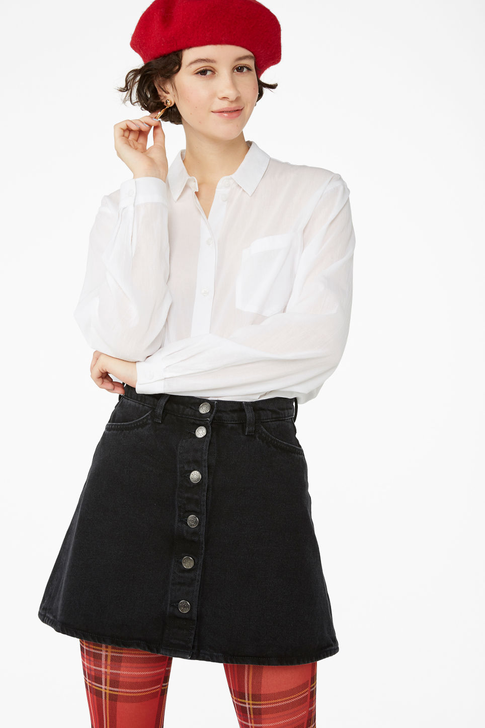 Model front image of Monki mini a-line denim skirt in black