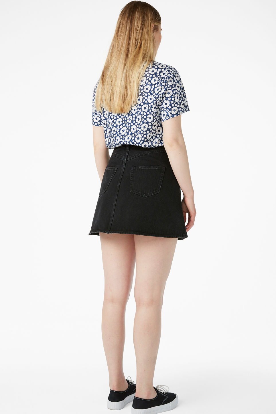 Model back image of Monki mini a-line denim skirt in black
