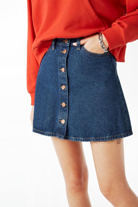 3c8baf6f1e Mini A-line denim skirt - Wondrous white - Skirts - Monki