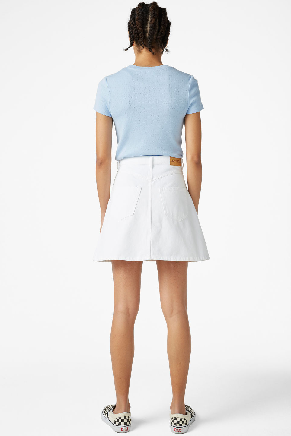 Model back image of Monki mini a-line denim skirt in white