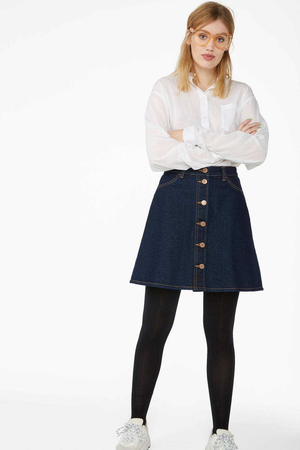 Model front image of Monki mini a-line denim skirt in blue