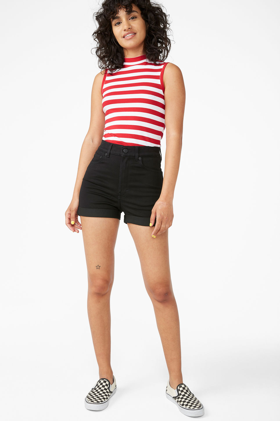 Model front image of Monki high waisted denim shorts in black