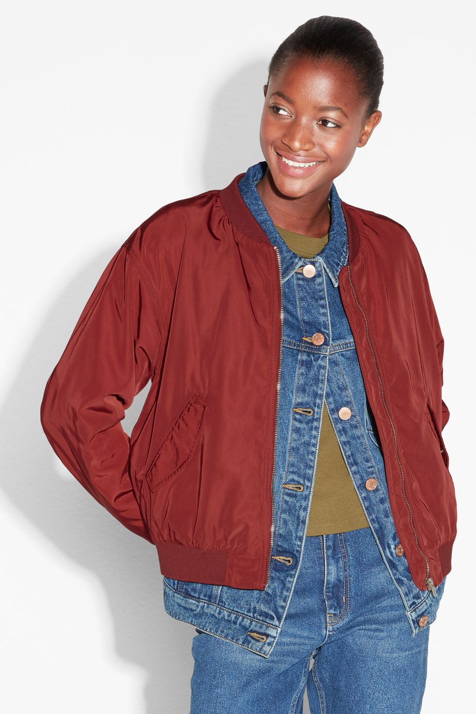 Model front image of Monki ruched seam bomber jacket in red