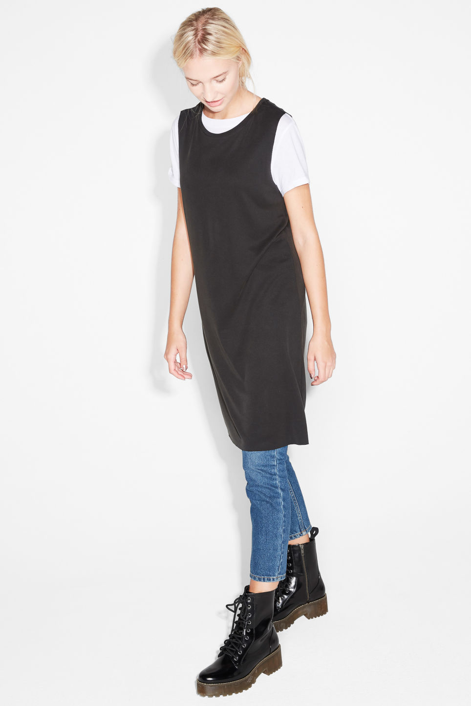 Model front image of Monki sleeveless dress in black