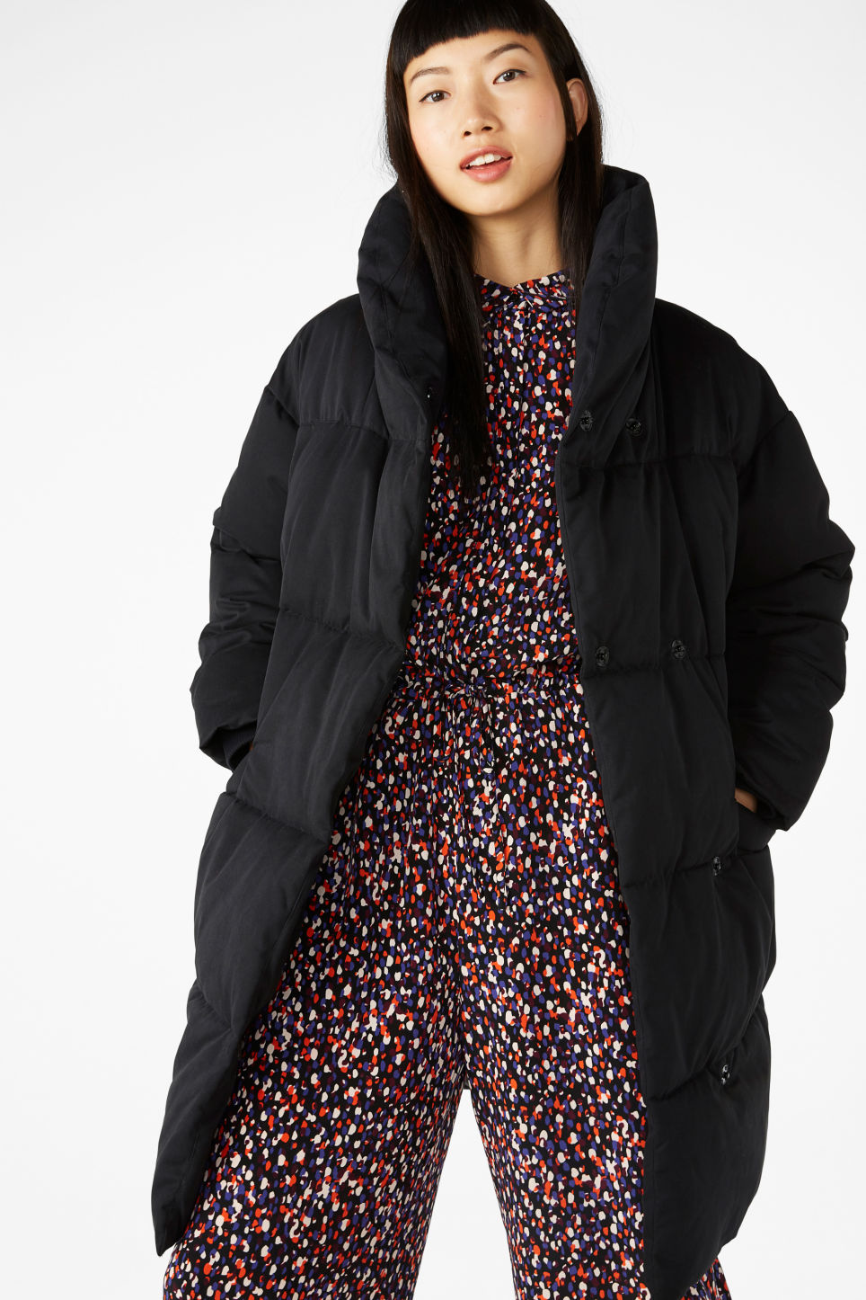 Model front image of Monki puff coat in black