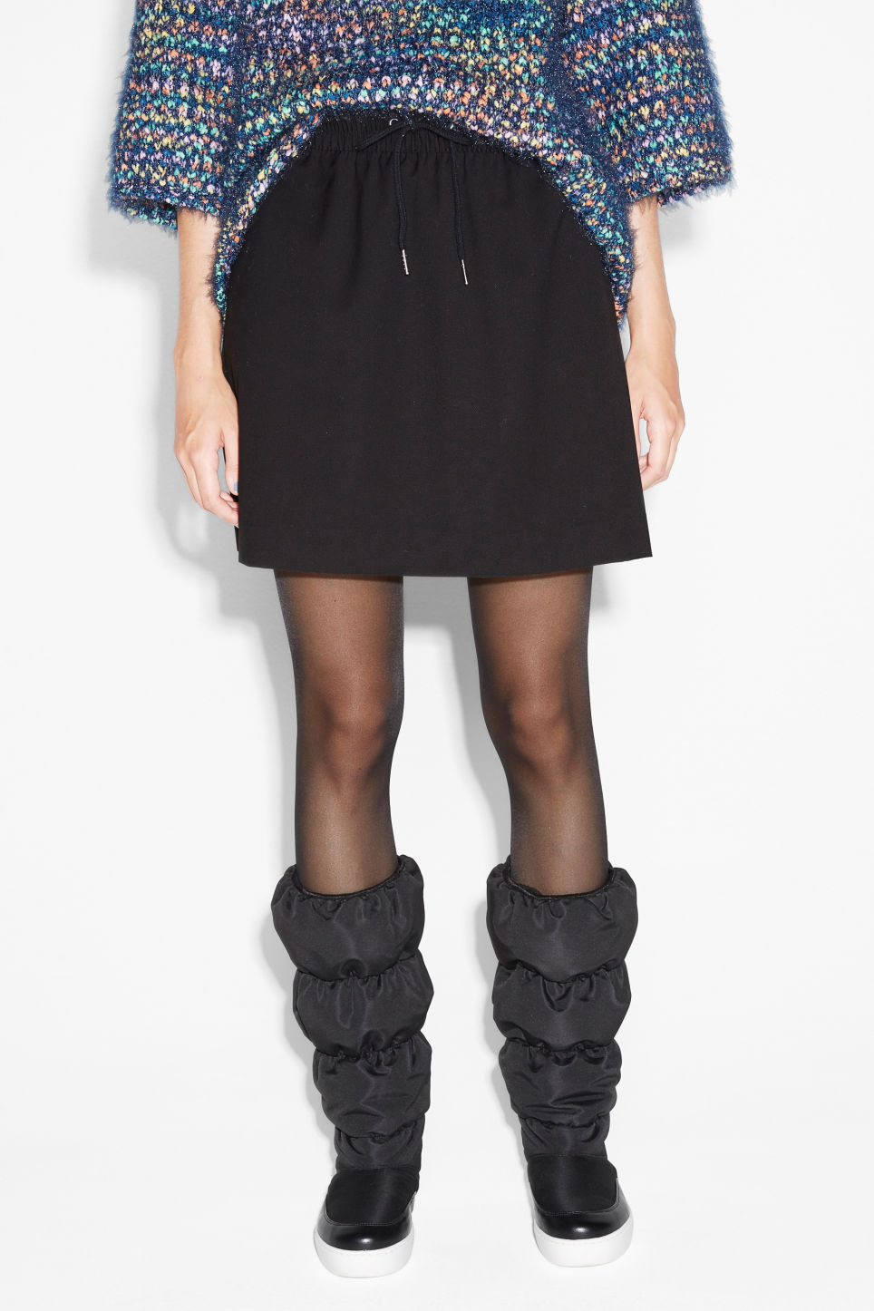 Model front image of Monki drawstring skirt in black