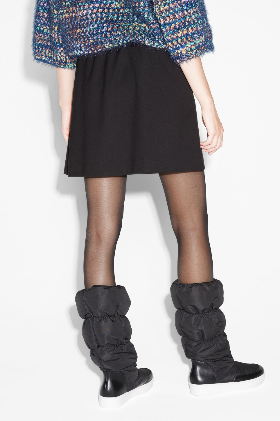 Model back image of Monki drawstring skirt in black