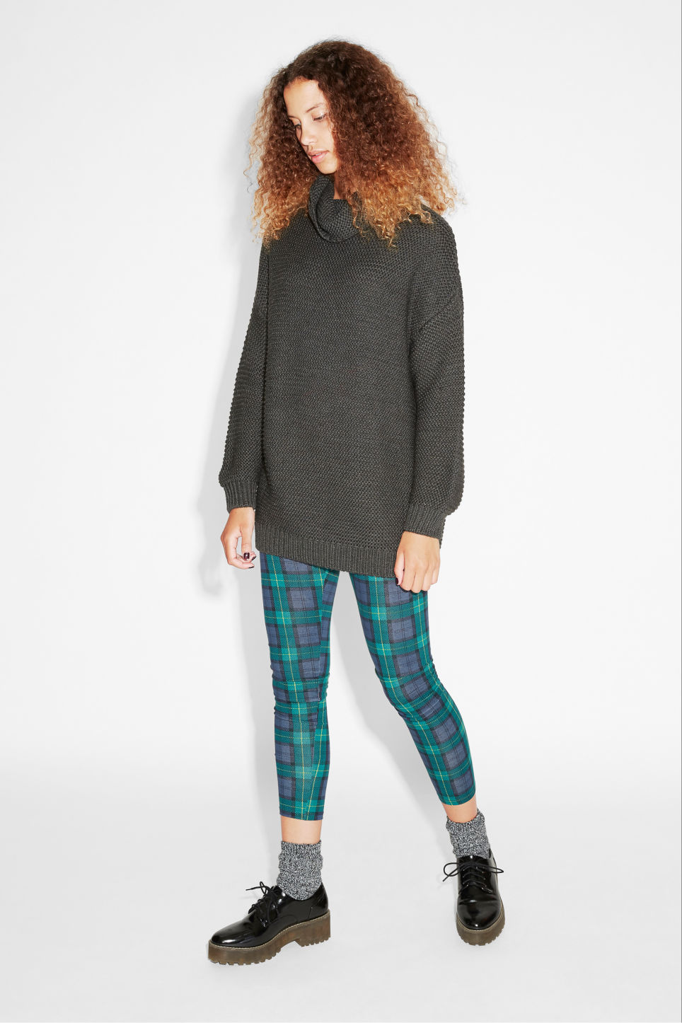 Model side image of Monki knit sweater in grey