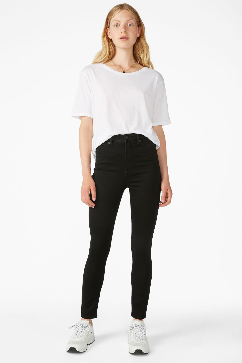 Model front image of Monki oki cropped black deluxe jeans in black