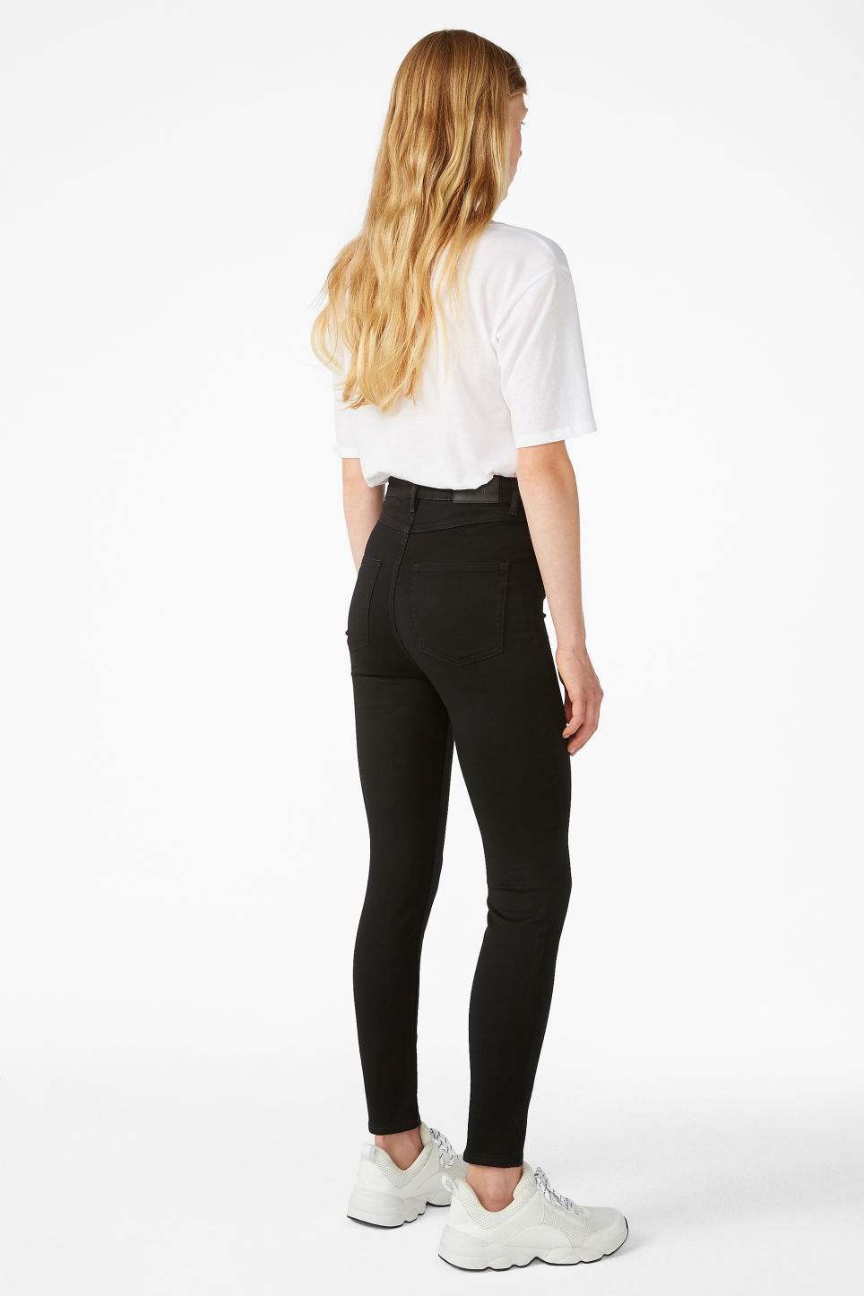 Model back image of Monki oki cropped black deluxe jeans in black