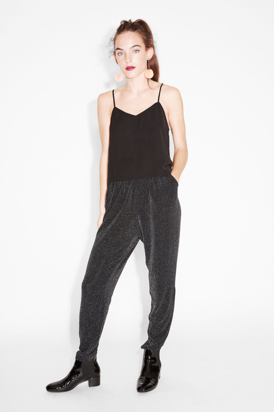 Model front image of Monki lounge trousers in black