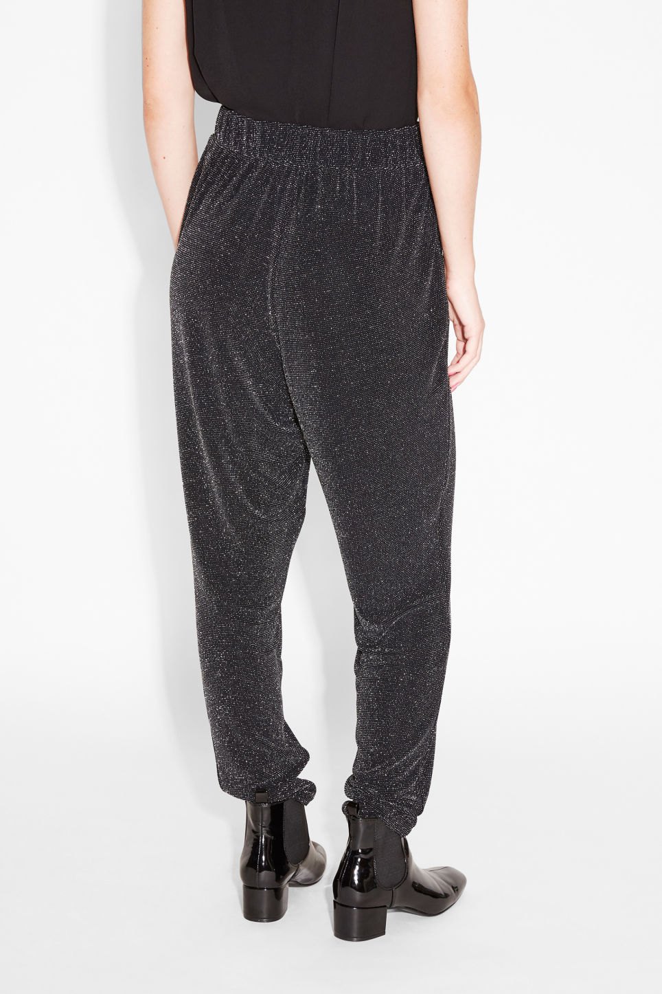Model back image of Monki lounge trousers in black