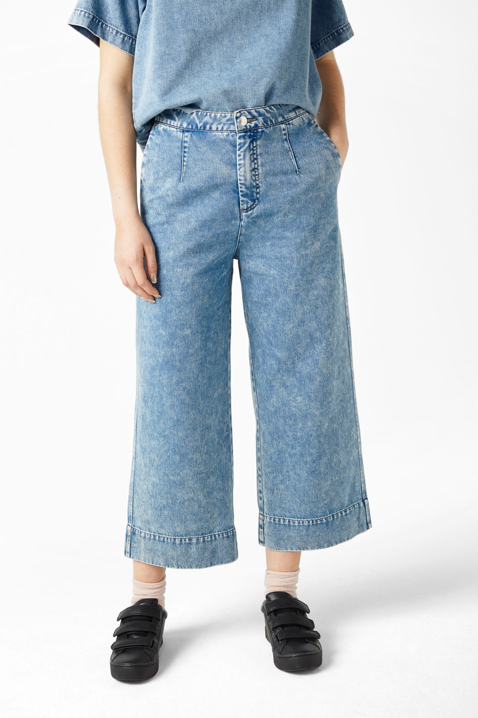 Model front image of Monki wide leg denim trousers in blue