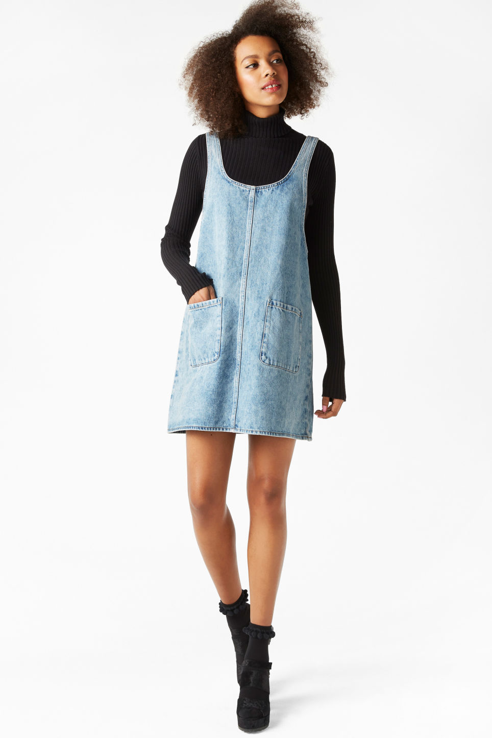 Model front image of Monki denim dress in blue