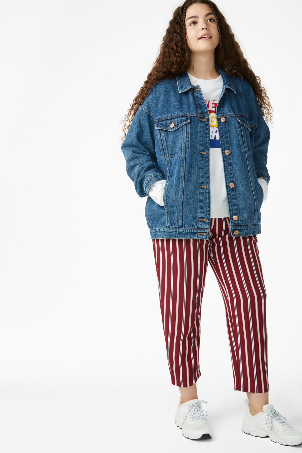Model front image of Monki classic denim jacket in blue