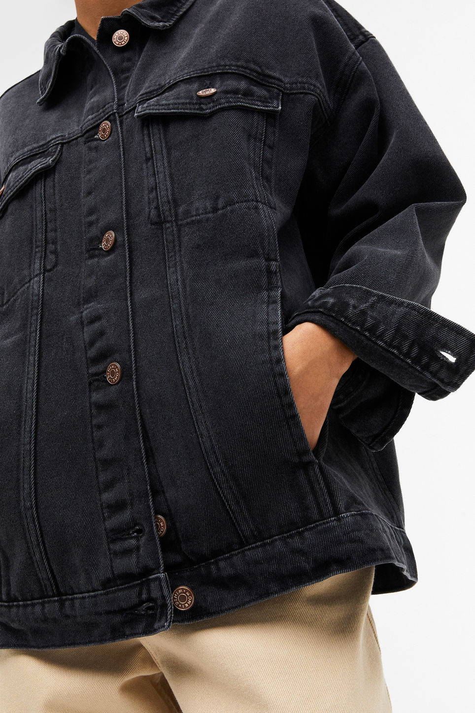 Model front image of Monki classic denim jacket in black