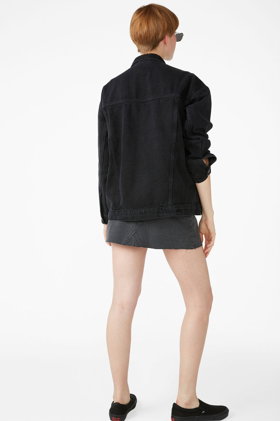 Model back image of Monki classic denim jacket in black