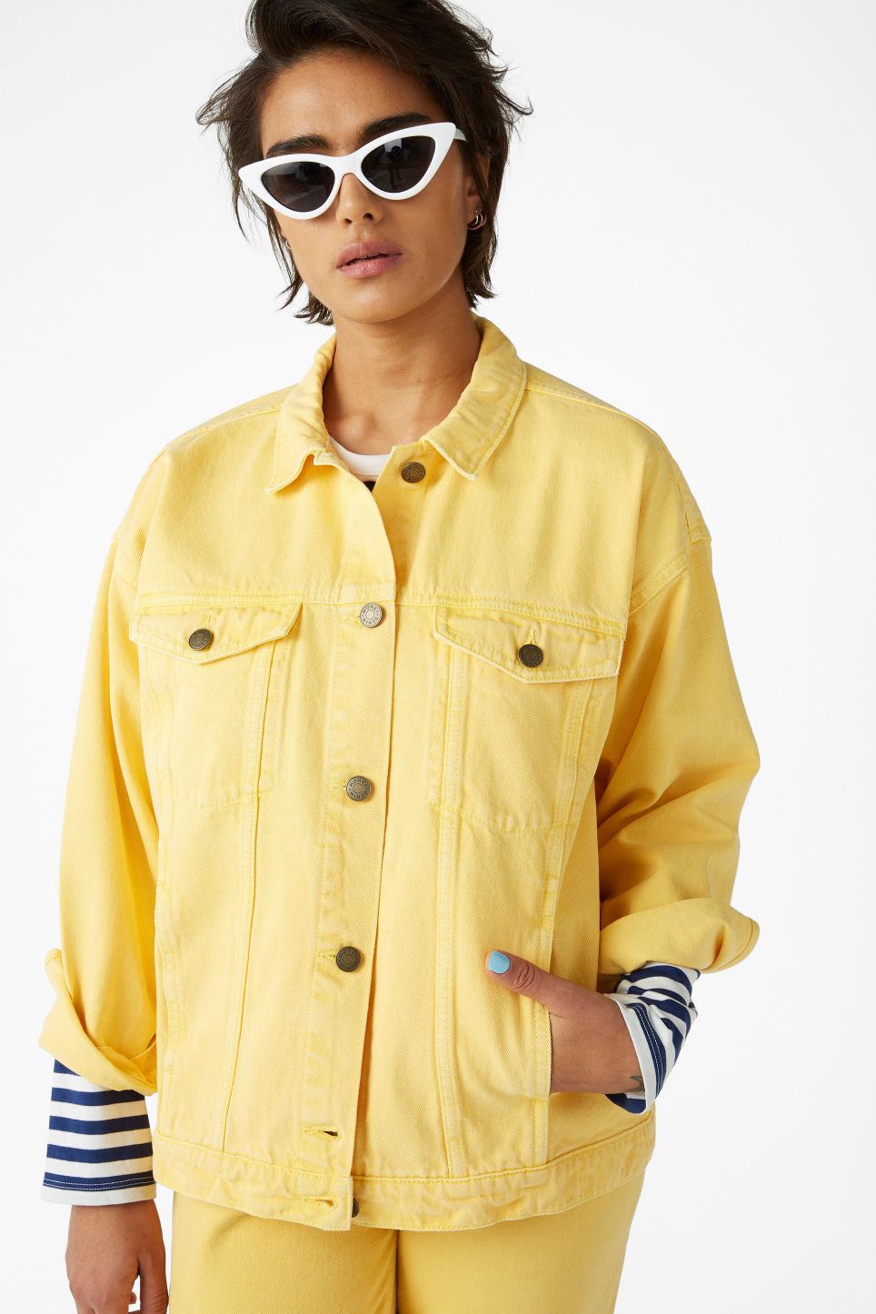 Model front image of Monki classic denim jacket in yellow