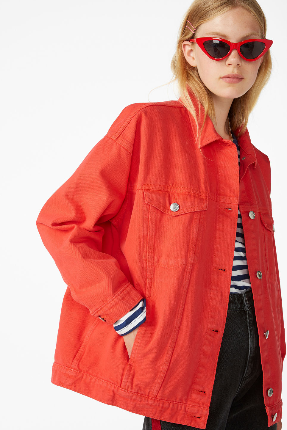 Model front image of Monki classic denim jacket in red