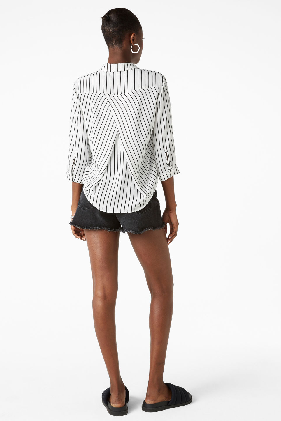 Model back image of Monki button up blouse in white