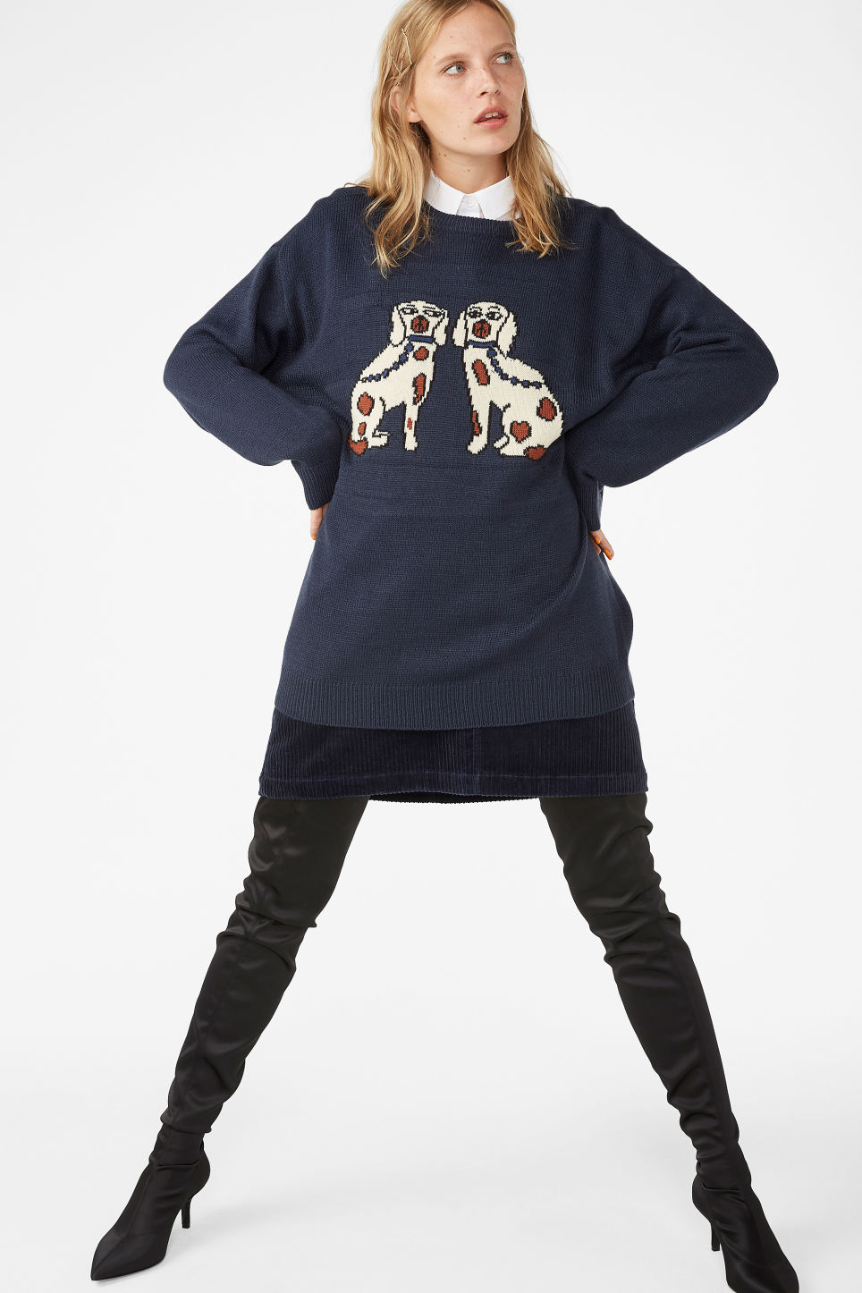 Model front image of Monki jacquard knit in blue
