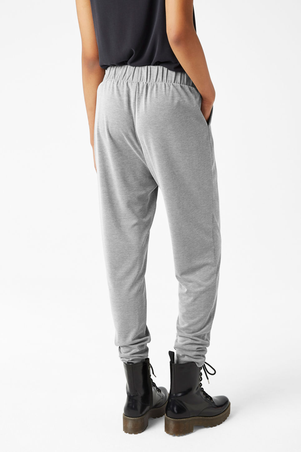 Model back image of Monki loungey trousers in grey