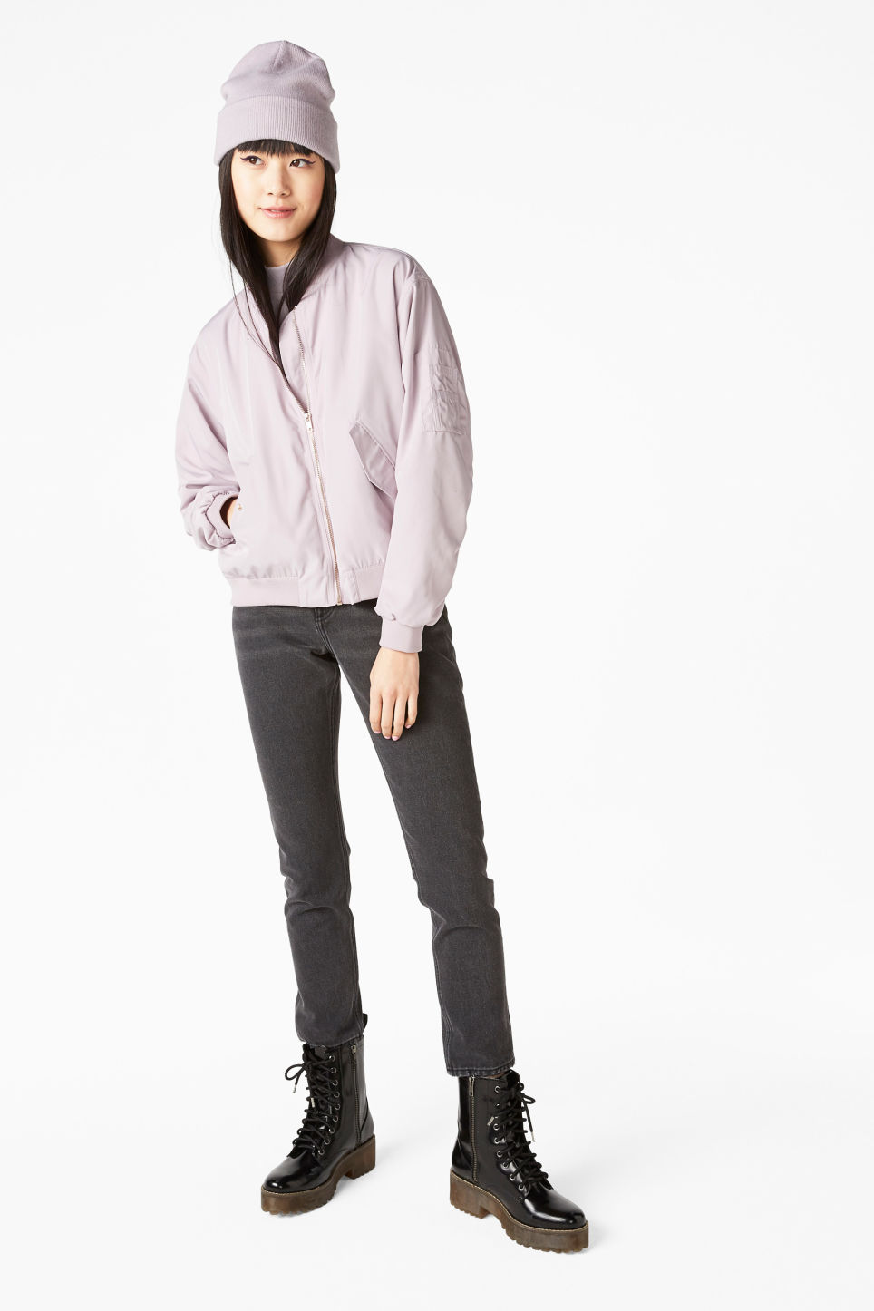 Model front image of Monki ruched seam bomber jacket in purple