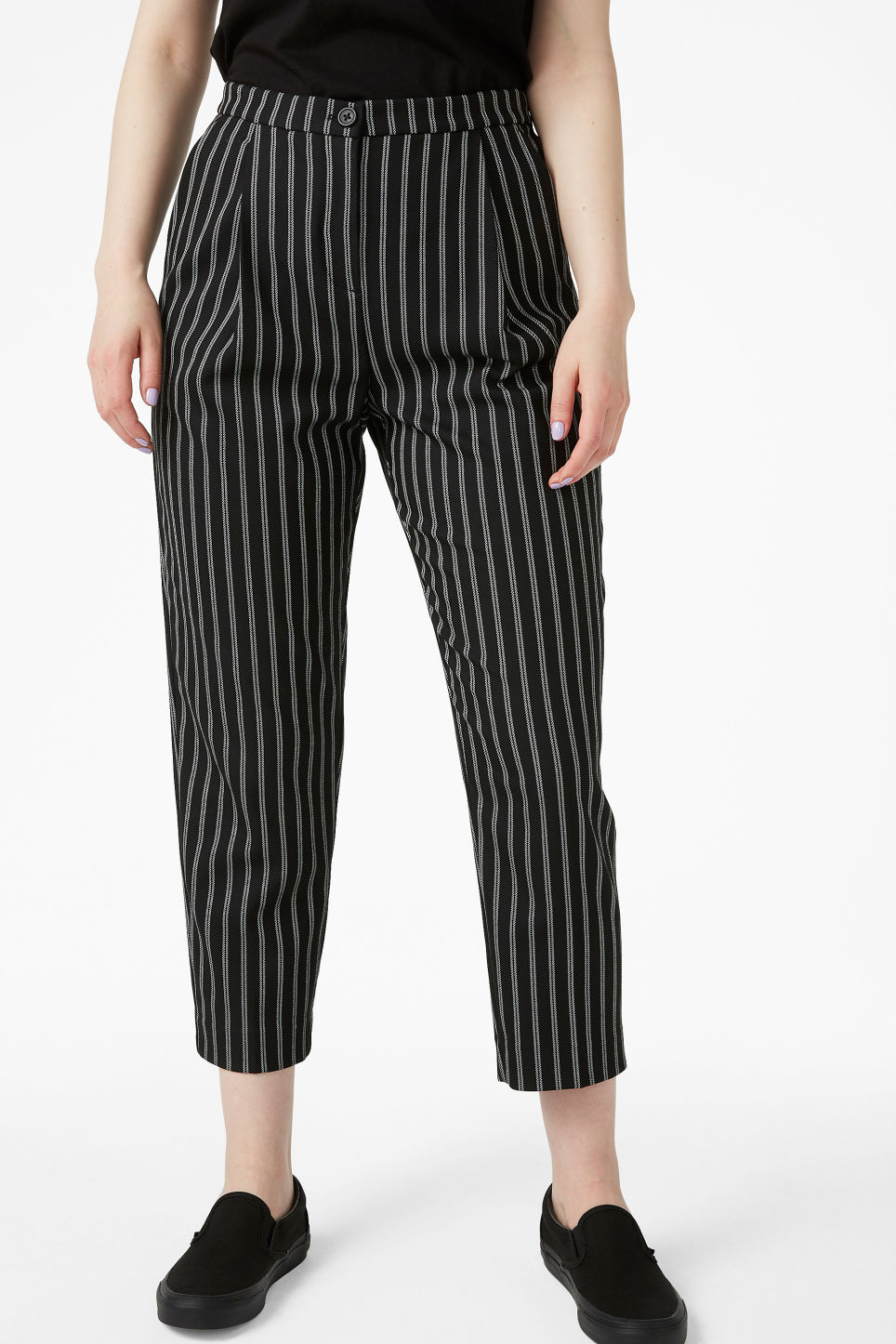Model side image of Monki dressy trousers in black
