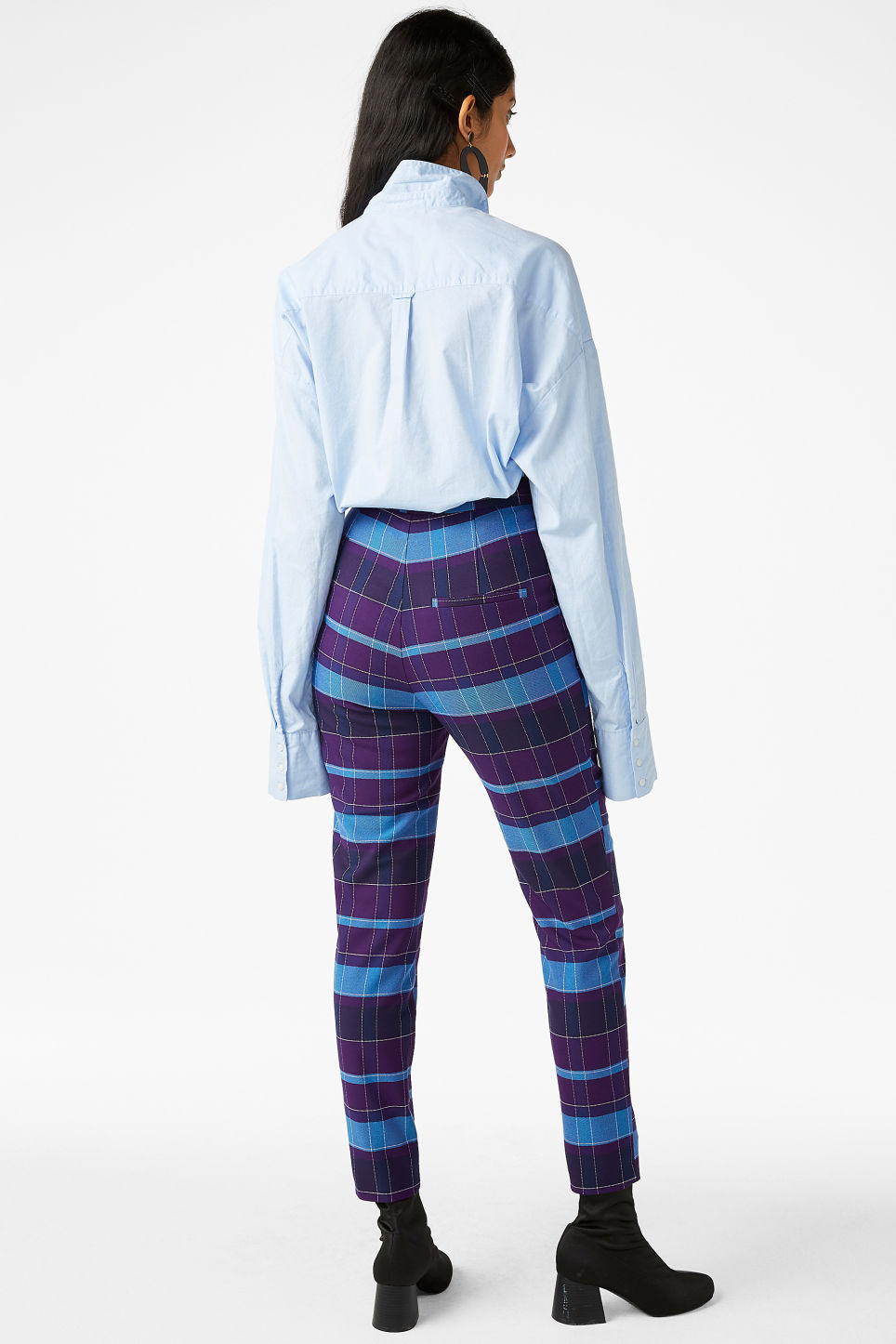 Model back image of Monki soft tapered trousers in purple