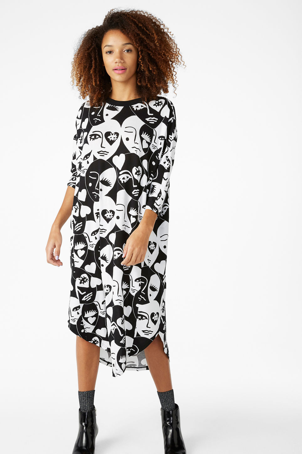 Model front image of Monki oversized dress in white