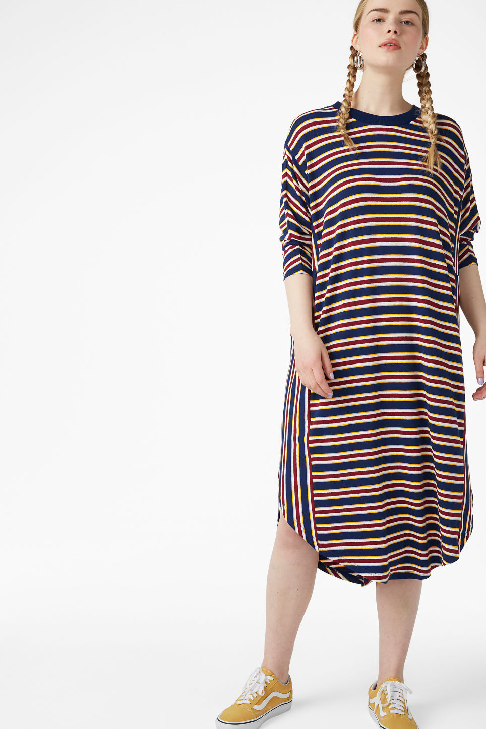 Model front image of Monki oversized dress in blue