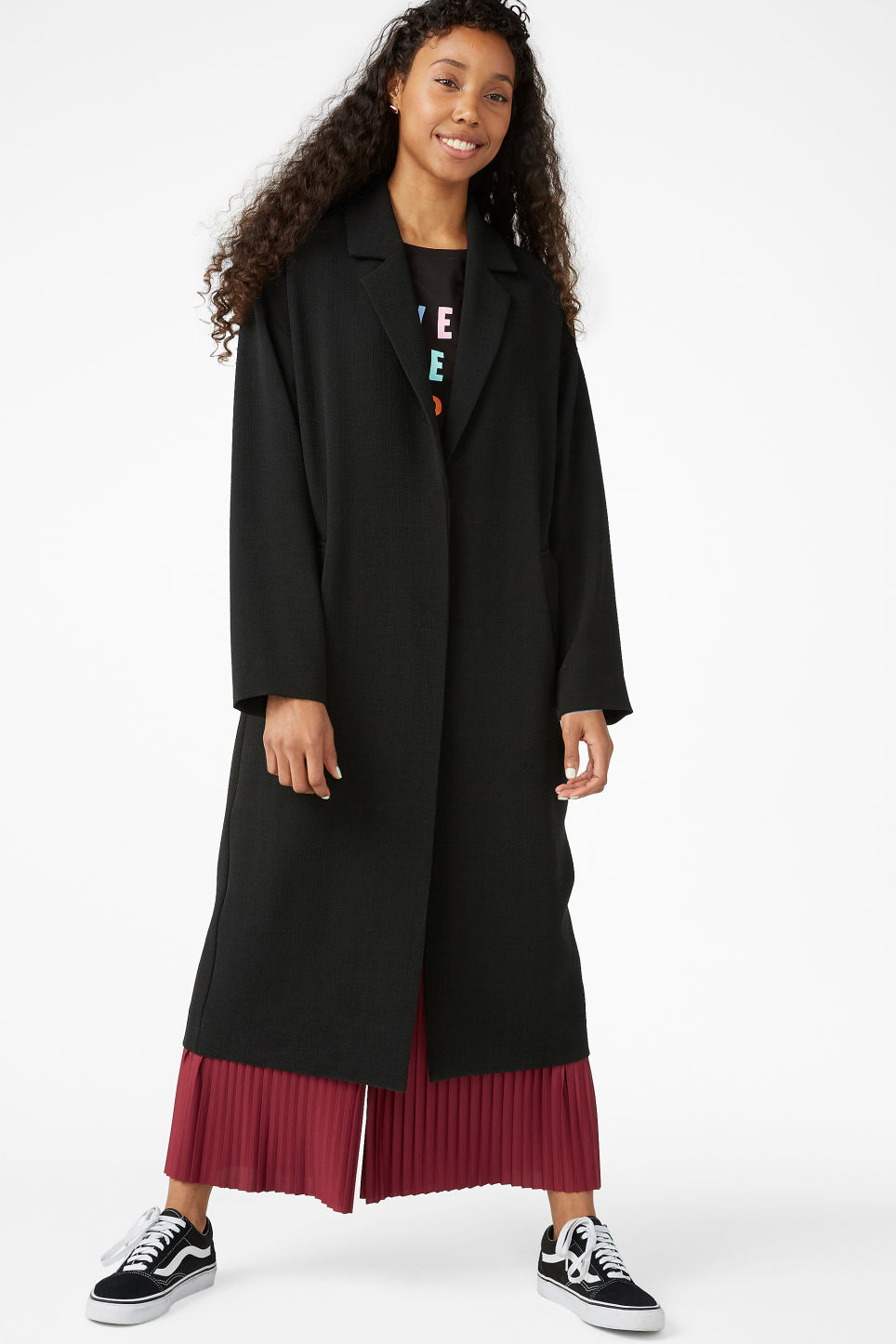 Model front image of Monki lightweight coat in black