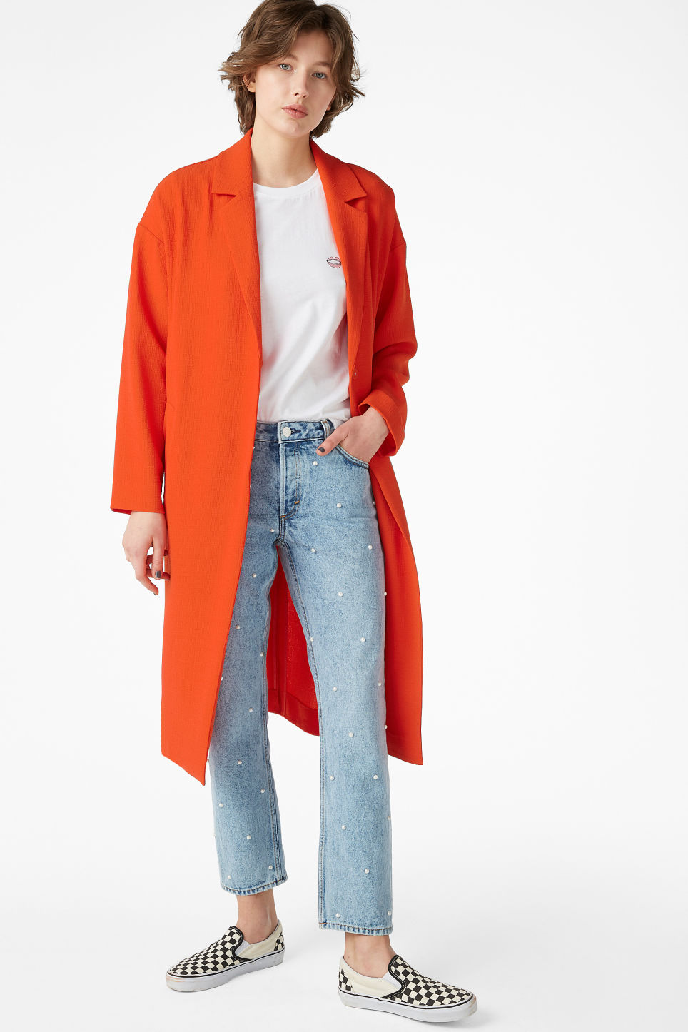 Model front image of Monki lightweight coat in orange