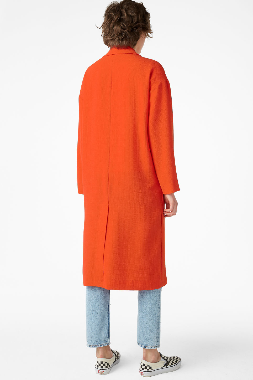 Model back image of Monki lightweight coat in orange