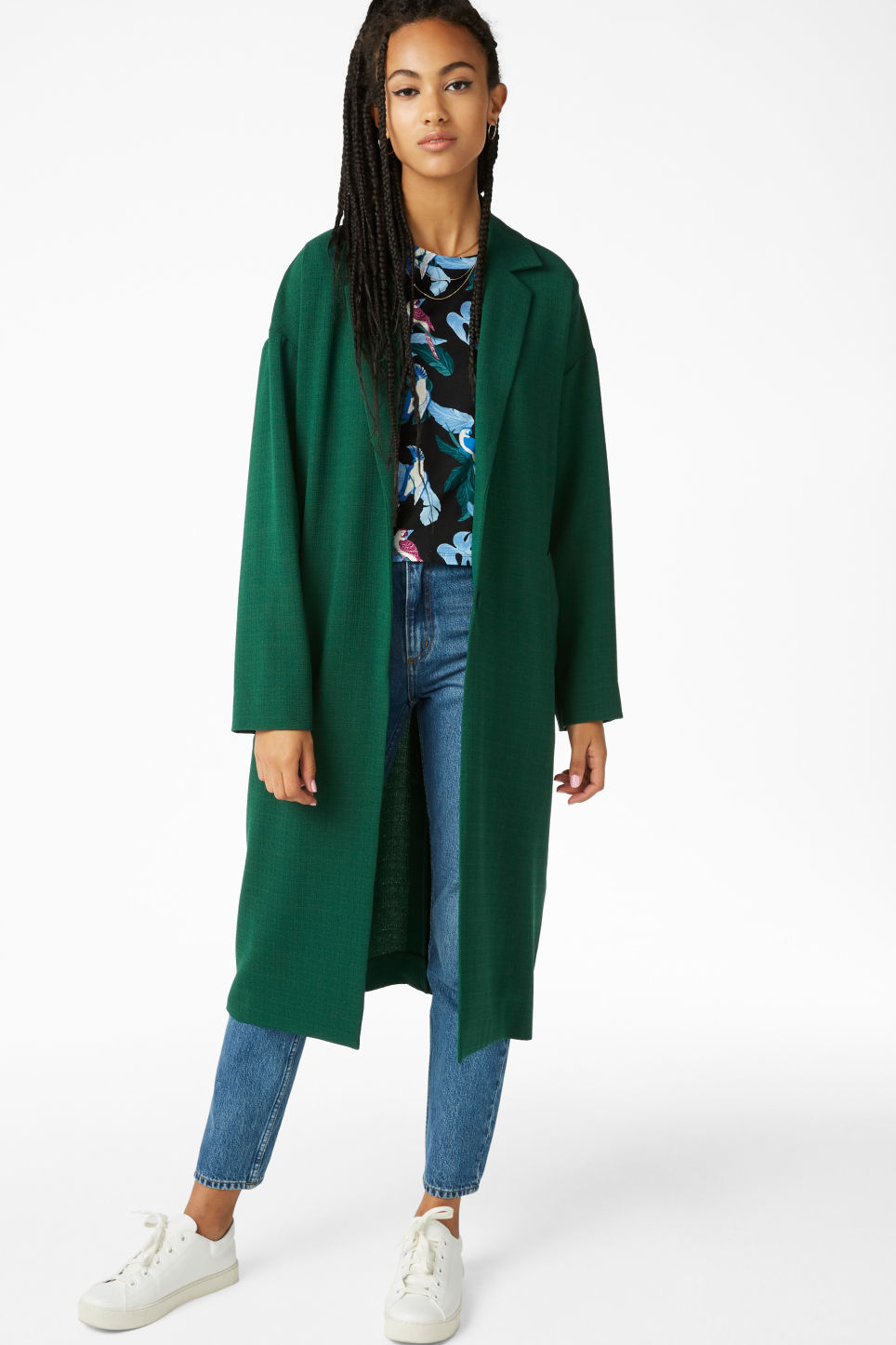 Model front image of Monki lightweight coat in green