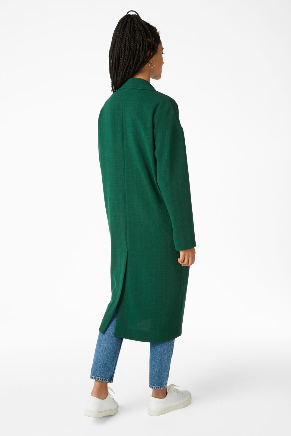Model back image of Monki lightweight coat in green