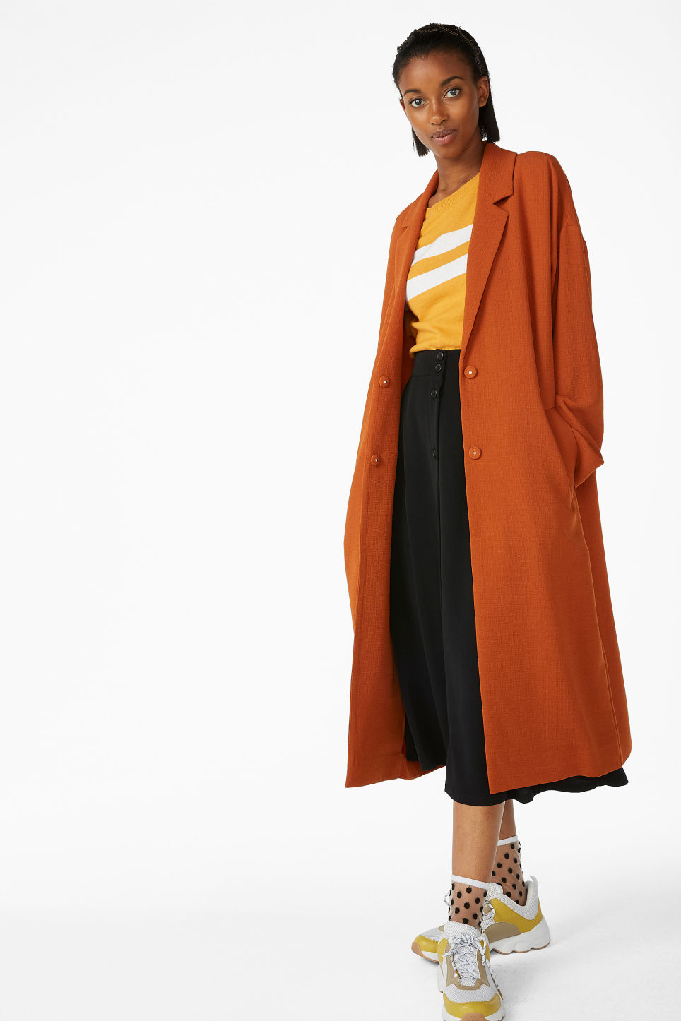 Model front image of Monki long dressy coat in orange