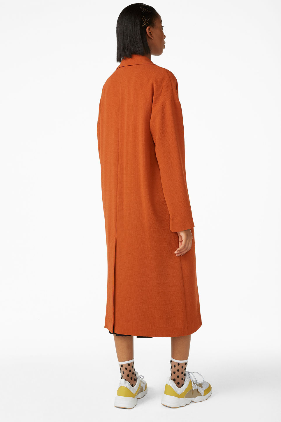 Model back image of Monki long dressy coat in orange