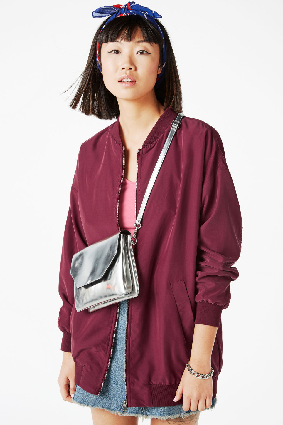 Model front image of Monki long bomber jacket in red
